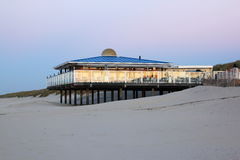 Beach pavilion in evening light, dutch Ameland Island Stock Photo