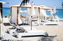 Beach pavilion. In tropical garden royalty free stock photo