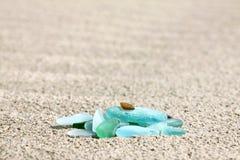 Beach pebble glass Stock Photography
