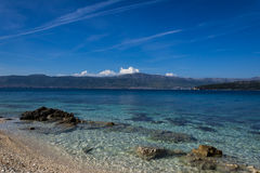 Beach 2. Pebble beach with view to Split and Marijan forest Royalty Free Stock Photo