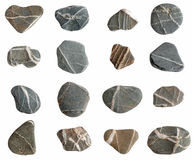 Beach pebbles collection isolated on a white. Royalty Free Stock Photos