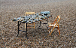 Beach Pebbles with names and messages. Study of Beach Pebbles with names and messages on them set on a table ,Aldburgh, Suffolk, England Royalty Free Stock Photography