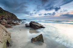The Beach at Pentewan in Cornwall Stock Images