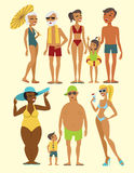 Beach people characters Royalty Free Stock Images