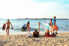 Beach. People relax along the beach royalty free stock photo