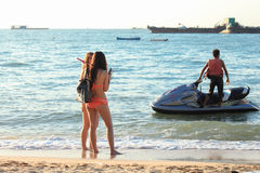 Beach. People relax along the beach in Pattaya royalty free stock images