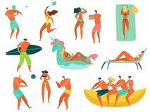 Beach people. Summer vacation sea ocean family relax playing sports people swimming sunbathing walking fun characters stock illustration