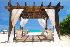 Beach pergola. Beautiful caribbean beach with pergola in Dominican Republic Stock Images
