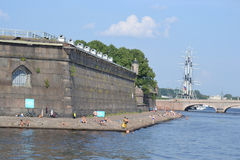 The beach at the Peter and Paul Fortress. Stock Photography