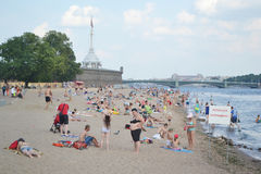 The beach at the Peter and Paul Fortress. Stock Photo