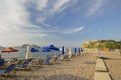 Beach at Petra, Lesvos, Greece. The beach at the resort of Petra, Lesvos, Greece royalty free stock photography