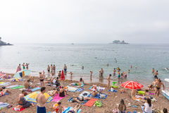Beach of Petrovac and the island of Holy Week, Montenegro royalty free stock photos