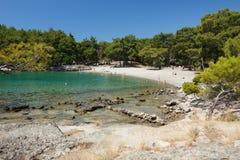 Beach in Phaselis, Turkey. Stock Photo