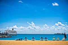 Beach in Philipsburg, Saint Maarten, Carribean Islands Stock Photo