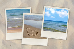 Beach photos on sand. Three beach and sea instant photos on sand Royalty Free Stock Photos