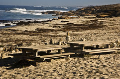 Beach Picnic Tables. These are beach picnic tables on the Pacific Coast near Monterey Stock Photos