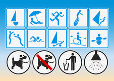 Beach pictograms Royalty Free Stock Photos