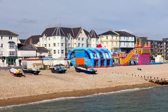 Beach from the Pier. Bognor Regis Beach and seafront seen from the Pier. West Susses England UK Stock Images