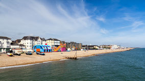 Beach from the Pier. Bognor Regis Beach and seafront seen from the Pier. West Susses England UK Royalty Free Stock Photos