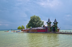 Beach pier at Balaton lake in Keszthely town, Hungary Stock Photography