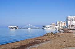 Beach and pier in Durres, Albania. Beach and pier in Durres - Albania royalty free stock photo