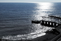 Beach and pier in Gaspra in morning, Crimea Royalty Free Stock Images
