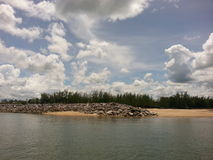 Beach and pier. In gulf of Thailand royalty free stock images