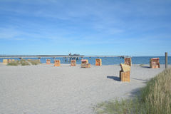 Beach and Pier,Heiligenhafen,baltic Sea,Germany Royalty Free Stock Images