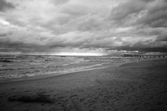 Beach and Pier, Lido di Camaiore. Beach and Pier at Lido di Camaiore in infrared color, Tuscan Riviera, Tuscany, Italy stock image