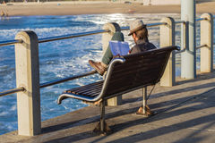 Beach Pier Male Reader Stock Images