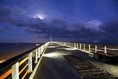 Beach Pier at Night royalty free stock photography