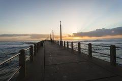 Beach Pier Ocean Sunrise Stock Image