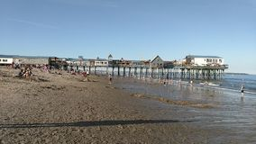 Old Orchard Beach Pier. The beach and pier in Old Orchard Beach in Maine stock video footage