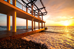 Beach Pier Sunset, seascape Royalty Free Stock Photos