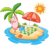 A beach with a pig enjoying summer Stock Photography