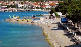 Beach with pines in Vodice, Croatia. stock photo