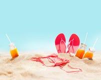 Beach Pink Bikini Flip Flops Juice Holiday Concept Stock Images