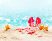 Beach Pink Bikini Slippers Juice Holiday Concept Royalty Free Stock Photography