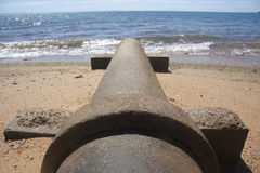 Beach Pipeline. Waste Water Flows Into The Ocean From A Cement Beach Pipeline [Taken: Redcliffe, Queensland, Australia Stock Photos