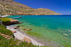 Beach in Plaka town on Crete. Sea scenery in Plaka town on Crete, Greece Stock Photos