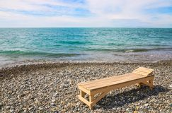 Beach plank bed at sea edge Stock Photography