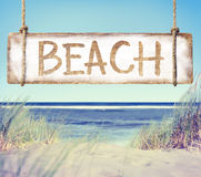 Beach and Plank Sign with Text Beach Royalty Free Stock Image