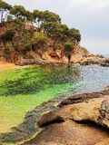 Beach of Platja d Aro, Costa Brava, Spain. Picturesque beaches of Costa Brava royalty free stock photos