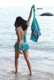 Beach play bikini woman Stock Photo