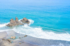Beach playa Benijo, Tenerife island, Spain Royalty Free Stock Photo