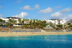 Beach Playa Blanca on Lanzarote, Spain. Beach Playa Blanca on the Canary Island Lanzarote, Spain royalty free stock images