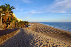 Beach Playa de Morro Jable -费埃特文图拉岛,西班牙- 14 02 2017年 免版税库存图片