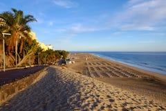 Beach Playa de Morro Jable - Fuerteventura, Ισπανία - 14 02 2017 Στοκ εικόνα με δικαίωμα ελεύθερης χρήσης