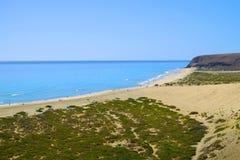 Beach Playa de Sotavento 费埃特文图拉岛,西班牙- 16 02 2017年 免版税库存照片