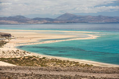 Beach Playa de Sotavento, Canary Island. Fuerteventura, Spain royalty free stock photography
